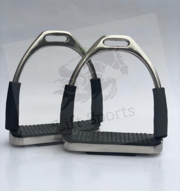 """5/"""" /& 4.75/"""" Horse Riding English Flexible Safety Stirrups Irons Saddle Bendy SS"""