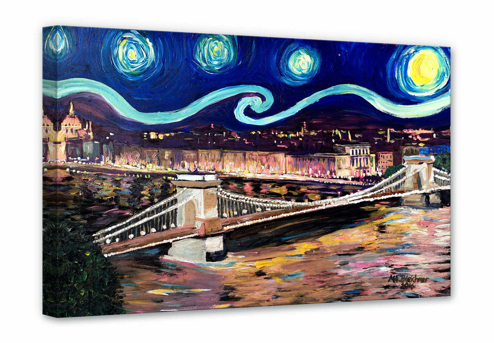 Leinwandbild Bleichner - Starry Night in Budapest WANDBILD KEILRAHMEN CANVAS