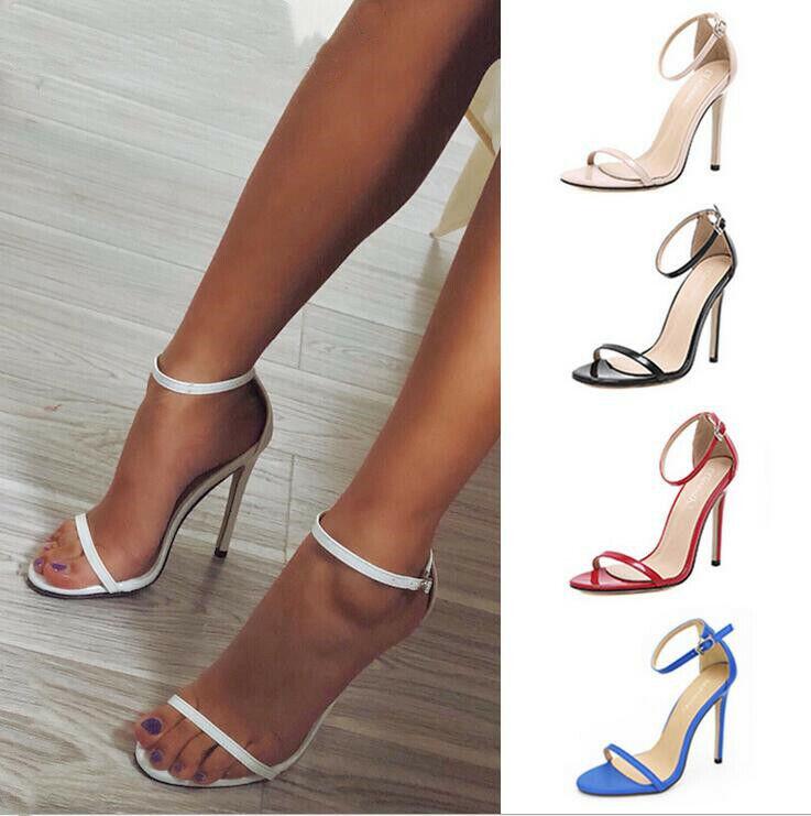 Chaussures Femme Sandales Bout Ouvert Cuir Bride Cheville Très Haut Stilettos Talons Hauts Chaussures Hot