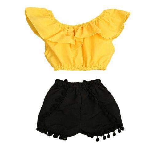 Kids tenue vêtements fille T-shirt Crop Tops Tassel Pantalon Court Costume Vêtements ensembles