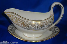 Superb Wedgwood GOLD FLORENTINE Gravy / Sauce Boat And Saucer Mint Condition
