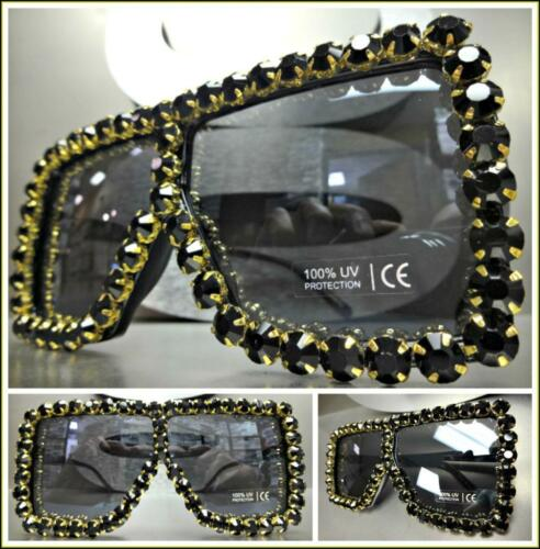 Oversized Retro Shield Style SUN GLASSES Square Black Frame /& Crystals Handmade!
