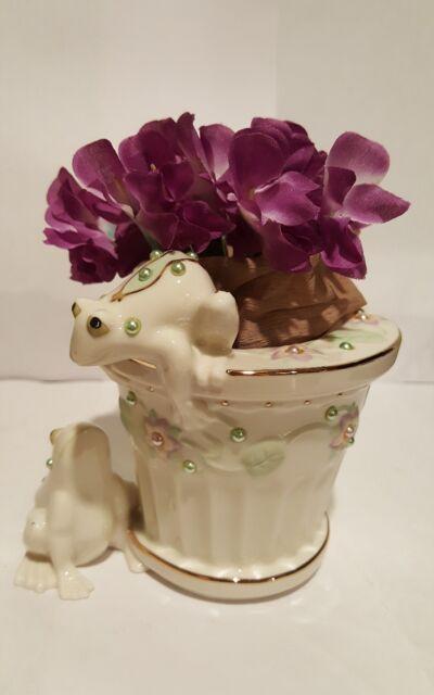 Lenox Petals And Pearls Frog Bud Vase Flower Pot 24 Kt Gold Accents