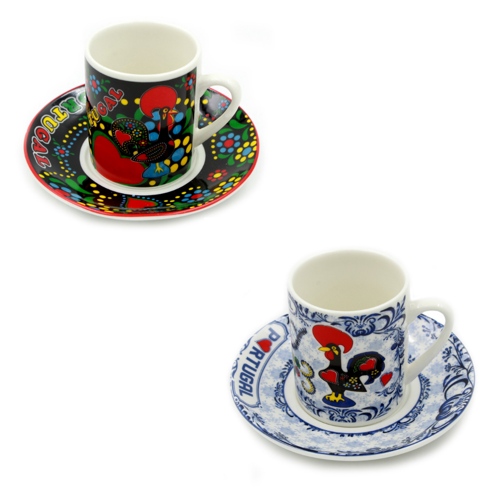 Set Of 6 Portuguese Rooster Espresso Cups and Saucers - 2 Farbes Available