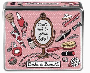 PerséVéRant Boîte à Beauté Compartimentée Rose Rangement Bijoux Métal Dlp Derrière La Porte