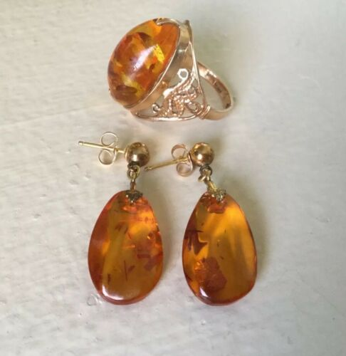 Vintage Amber And 10K Yellow Gold Earrings And Rin