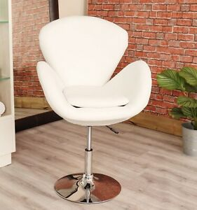 Outstanding Details About Funky Swivel Armchair Vintage White Pu Leather Comfy Chair Beauty Salon Seat New Creativecarmelina Interior Chair Design Creativecarmelinacom