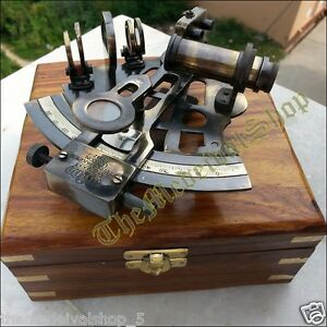 NAUTICAL-MARINE-SEXTANT-amp-WOODEN-BOX-BRASS-COLLECTIBLE-GERMAN-ASTROLABE-GIFT