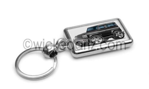 RetroArtz Cartoon Car Land Rover Defender in Black Premium Metal Key Ring