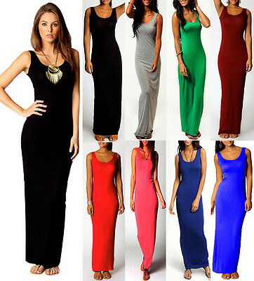 New Women Ladies Casual Day Maxi Dress Bodycon Pencil Long Skirt PLUS 812141618