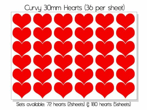 Curvy Heart 30mm Vinyl Stickers Self Adhesive Peel and Stick