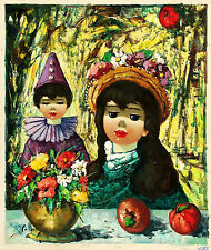 STOLLY Signed Vintage c1950s-60s Original Euro Oil Painting BOY & GIRL W/FLOWERS