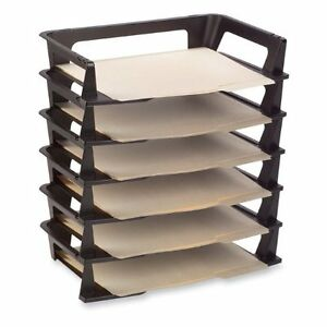 6 pack letter tray desk organizer paper office file tier - Rubbermaid desk organizer ...