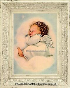 Vintage French Painting//Poster //Art Print// /'Baby Sleeping/'//16x20