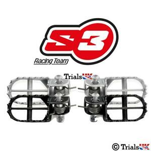 9a40c3e112 Image is loading S3-Steel-Trials-Footrests-Footpegs-Black-or-Silver