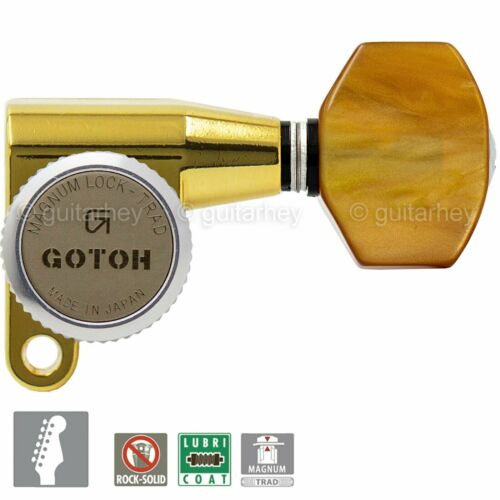 NEW Gotoh SG360-P8 MGT 6-in-line LOCKING Tuners Set MINI Right Handed GOLD
