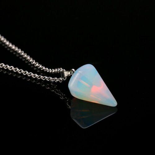 Girls Healing Stone Gem Pendant Necklace Bead Tapered Shaped Natural Gem