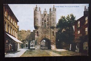 YORK-Micklegate-Bar-Vintage-Colour-Photochrom-Postcard-A-4732-Unused
