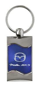 Fleur-De-Lis Blue Spun Brushed Metal Key Ring