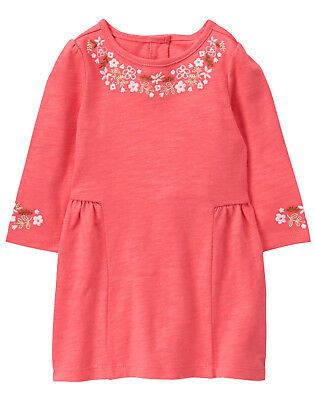 NWT Gymboree Forest Fox Coral Flower Embroidered Dress Baby Girl