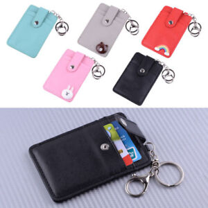 ID-Badge-Credit-Card-d-Holder-Pocket-Case-With-Keychain-Key-Ring-PU-Leather