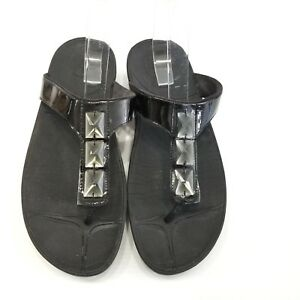 90a7e6cb3 Image is loading FitFlop-Pietra-Womens-Black-Thong-Sandals-Orthotic-Jeweled-