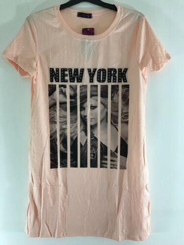 Womens Ladies New York Short Sleeve Printed  T-Shirt Long Line Tee Tops One Size