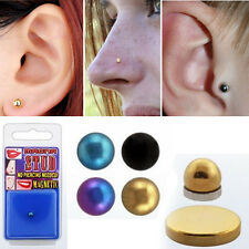 1-4PC Fake Magnet 6 Colored Anodized Steel Tragus Ear Stud Non Piercing 4mm Ball