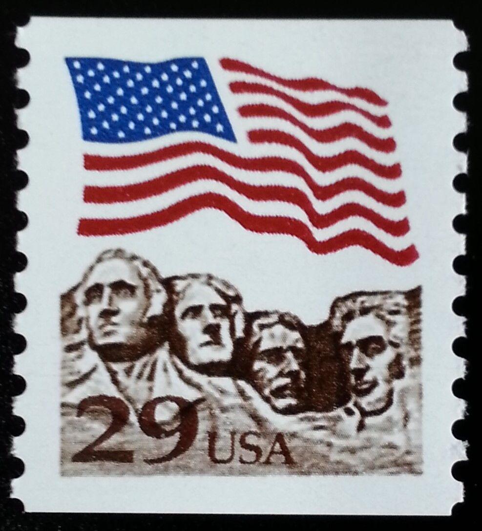 1991 29c Flag & Mount Rushmore, Coil Scott 2523a Mint F