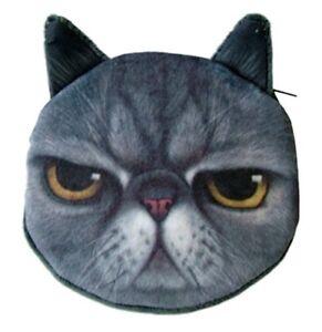 Flauschiger Münzbeutel Geldbeutel Geldbörse mit süßem Katzenmotiv Grau