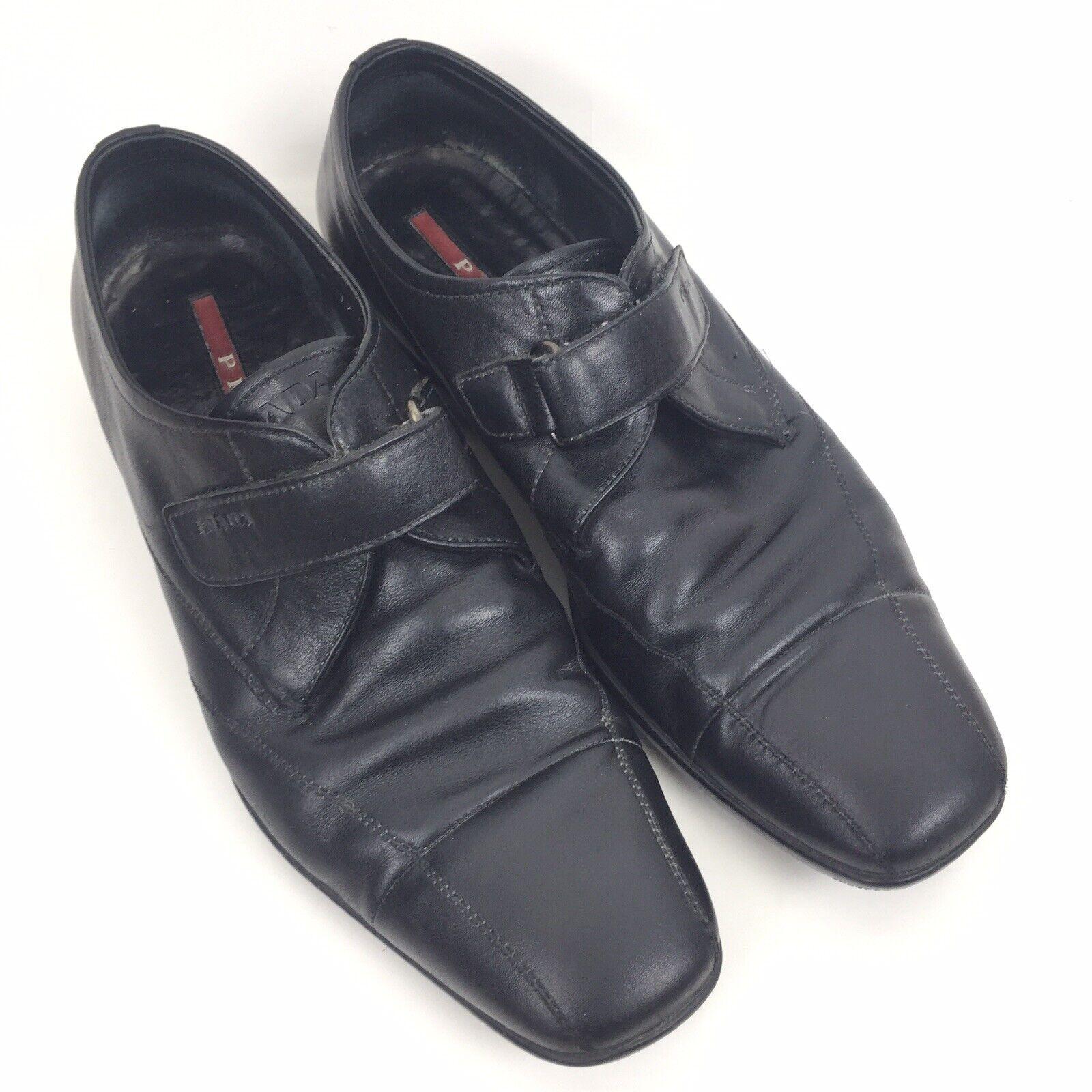 Para Hombre Prada Tamaño dedo del pie cuadrado 7 US 8 Cuero Velcro Mocasines Negro Hecho Italia