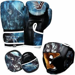 Velo-Junior-Boxeo-Guantes-Almohadillas-Focus-Ninos-Cabeza-Protector-Gancho-y-Mma