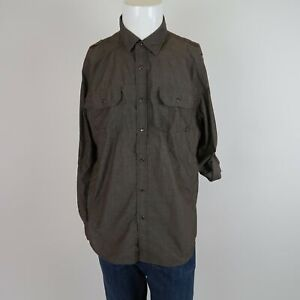 American-Rag-Cie-Green-Long-Sleeve-Button-Front-Cotton-Casual-Shirt-Mens-Large