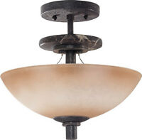 Ledgestone And Toffee Crunch Glass Semi Flush Ceiling 3 Light Fixture