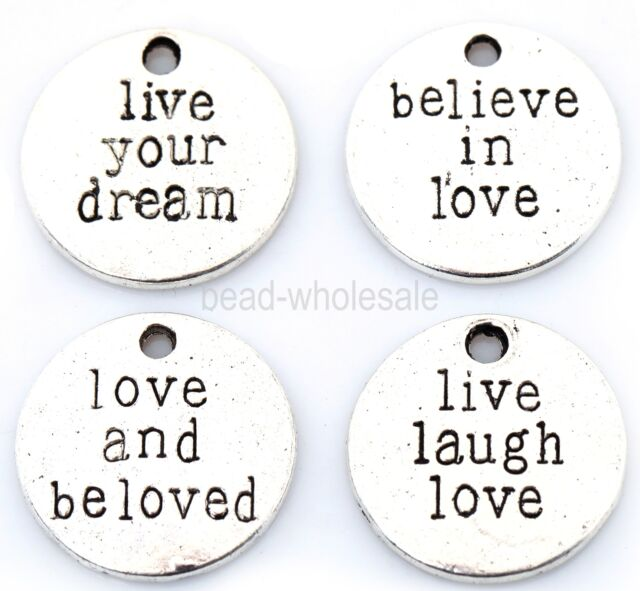 20pcs Antique Silver Round Love Believe Dream Live Laugh Charms Pendants