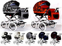 3 In 1 Retro Pram & Pushchair & Car Seat 40 Colours + Free Accessories