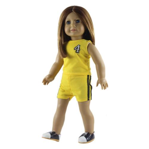 Gelbe Freizeitkleidung Sport Anzug für amerikanische Mädchen 18 Zoll