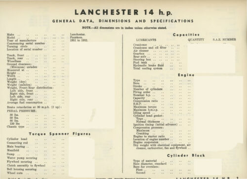1951-1952 Lanchester 14HP Data sheets 6 pages