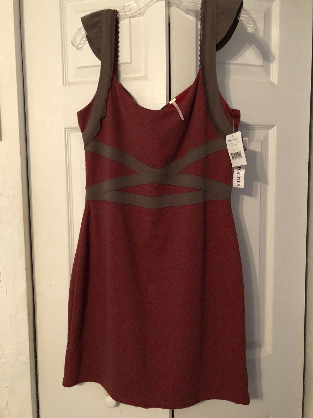 New  90. Free People Cap Sleeve Red Brown Jacquard Combo Dress Size L