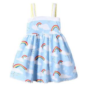 Summer Toddler Baby Girls Sleeveless Rainbow Print Dress Vest Strapless Dresses