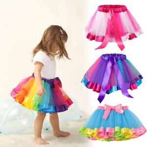 Girl-Colorful-Mesh-Tutu-Skirt-Multilayer-Pettiskirt-Fluffy-Dance-Children-S-L