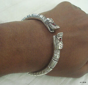 Image Is Loading Ethnic Tribal Silver Bracelet Cuff Bangle Makara Heads