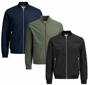 Jack-amp-Jones-New-Mens-Bomber-Jacket-Zip-impermeable-a-prueba-de-viento-Abrigo-Talla-XS-XXL