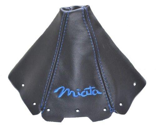 """Shift Boot For Mazda MX5 MK1 1989-1997 Leather /""""Miata/"""" Blue Embroidery"""