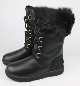Image is loading UGG-AYA-TALL-TOSCANA-CUFF-BLACK-WATERPROOF-Boot-