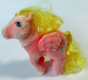 """Vintage My Little Pony Best Wishes G1 So Soft Pink Flocked Fuzzy """"PEGASUS"""" 1983"""