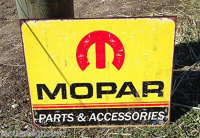 Mopar Parts Accessories ROUND TIN SIGN Vintage Metal Garage Ad