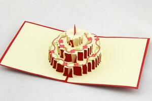 3 Tier Floral Cake Card 3d Pop Up Card Happy Birthday
