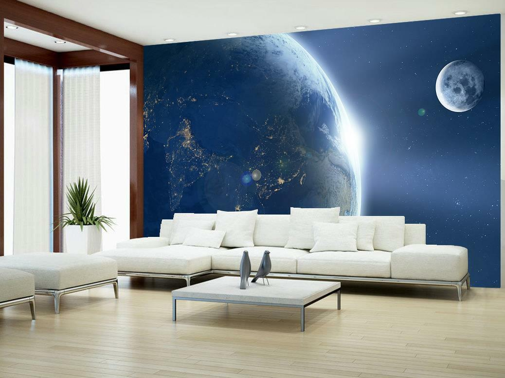 Photo Wallpaper Wall Mural Woven Self-Adhesive Modern Art Space Moon Earth M26