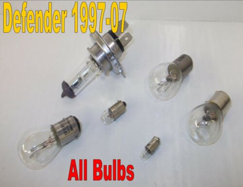 Landrover defender bulbs headlight rear side reverse stop tail number plate